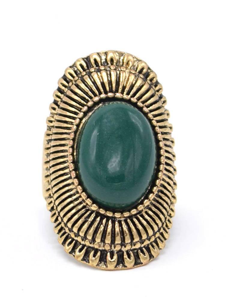Antiek Vergulde Groene Vintage Ring
