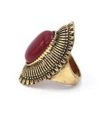 Antiek Vergulde Koraalrode Vintage ring