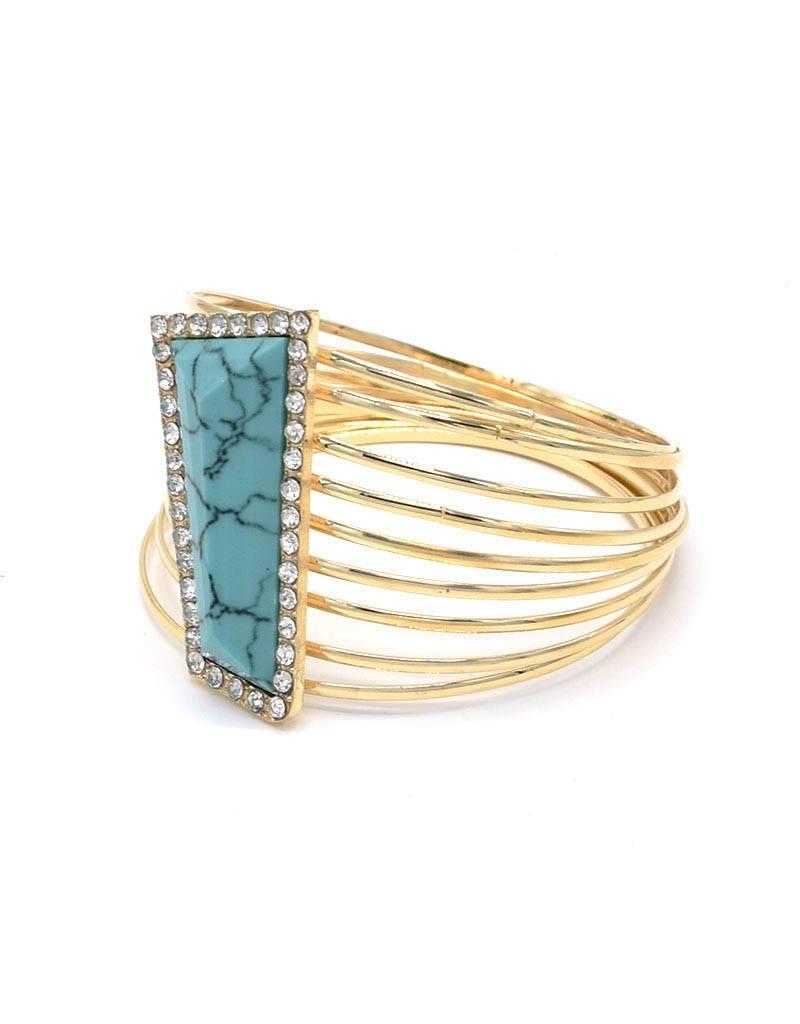 Vergulde Vintage Armband Turquoise