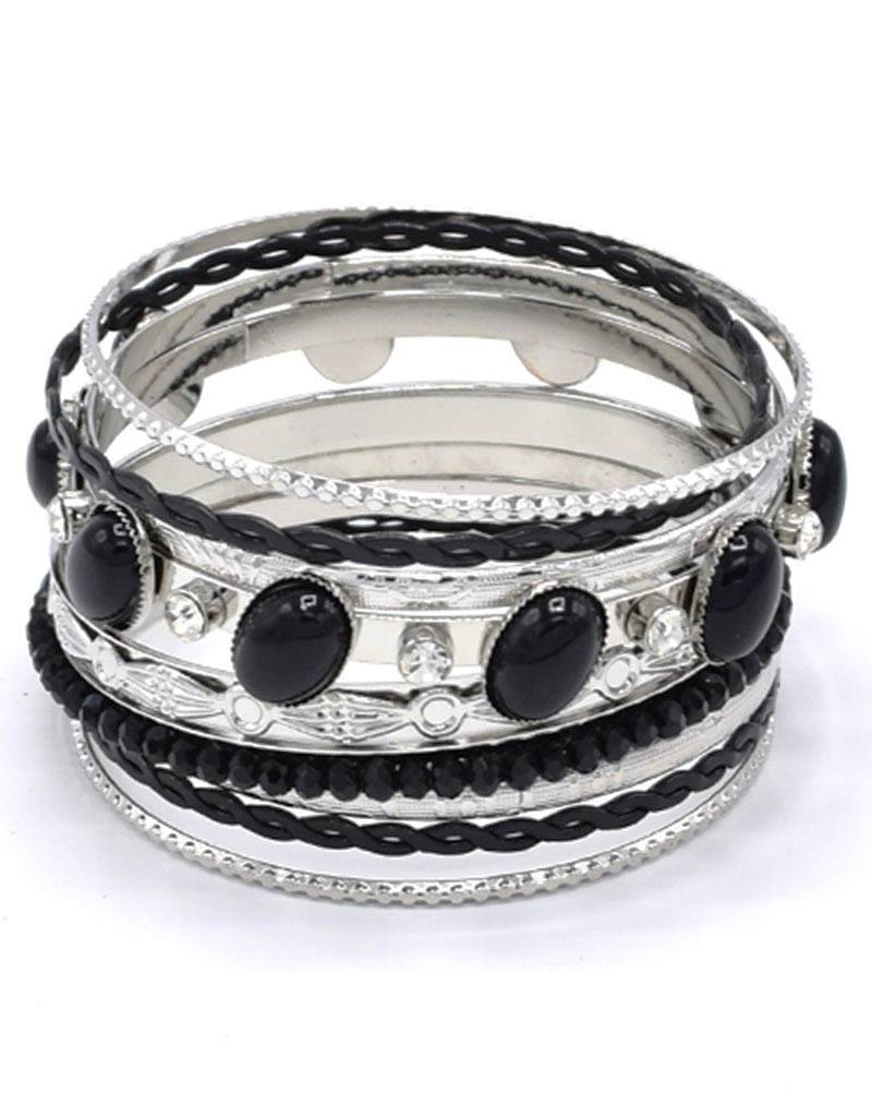 Verzilverde Vintage Armband Zwart