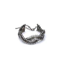 Zwarte Vintage armband met strass