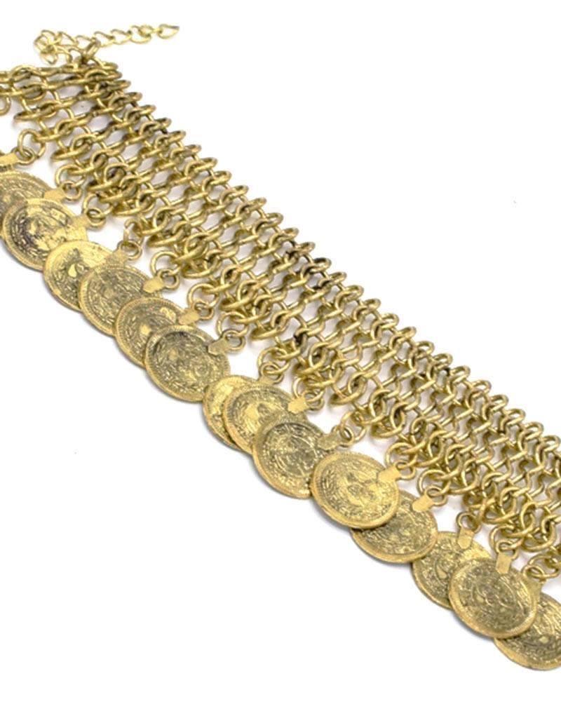 Antiek Vergulde Bohemian Armband Munt Bedels