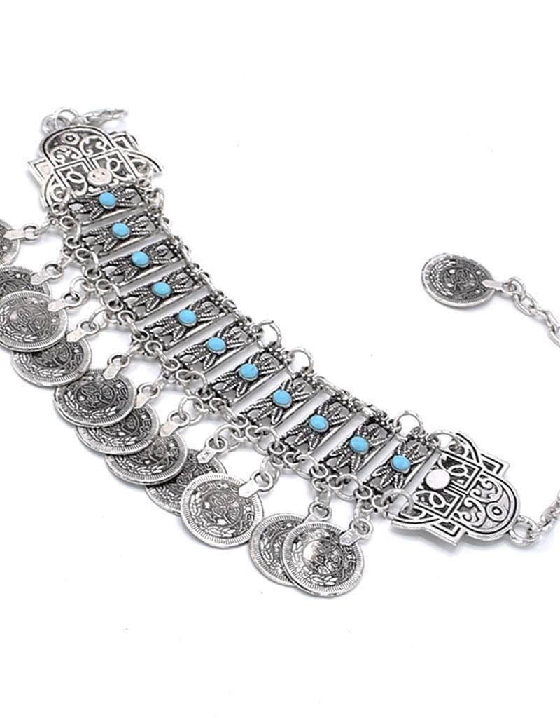 Antiek Verzilverde Bohemian Armband met Bedels