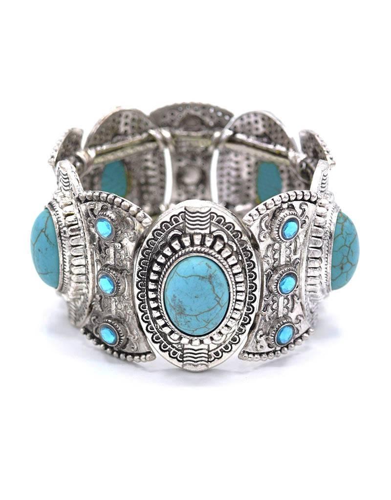 Antiek Verzilverde Bohemian armband Gypsy
