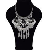 Uitbundige antiek verzilverde Bohemian halsketting