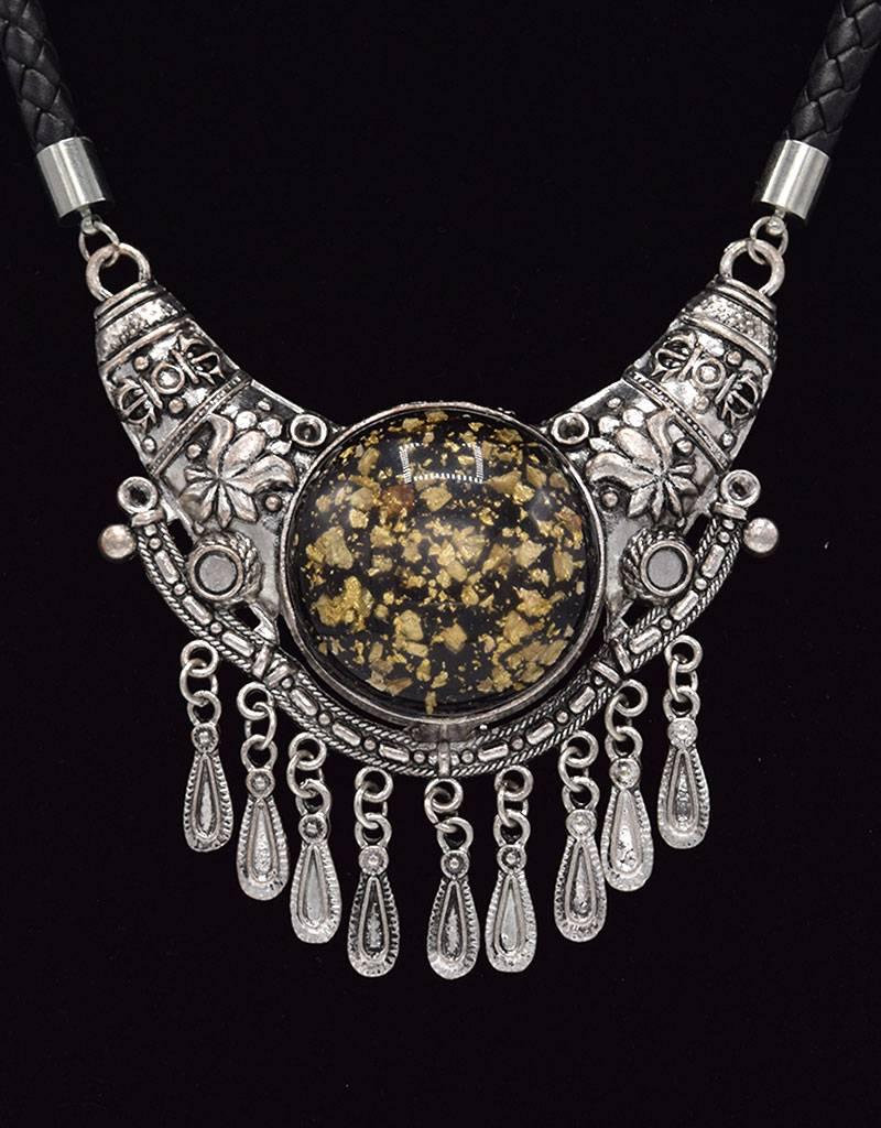 Stoere Antiek Verzilverde Bohemian Halsketting