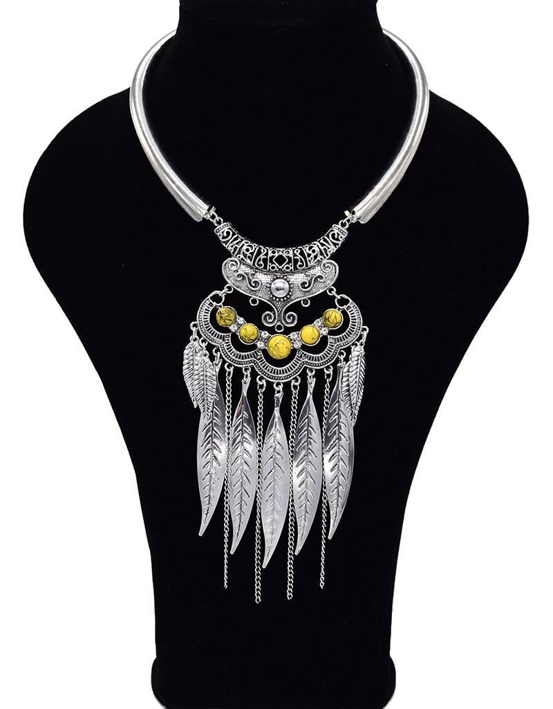 Sierlijke Antiek Verzilverde Bohemian Halsketting