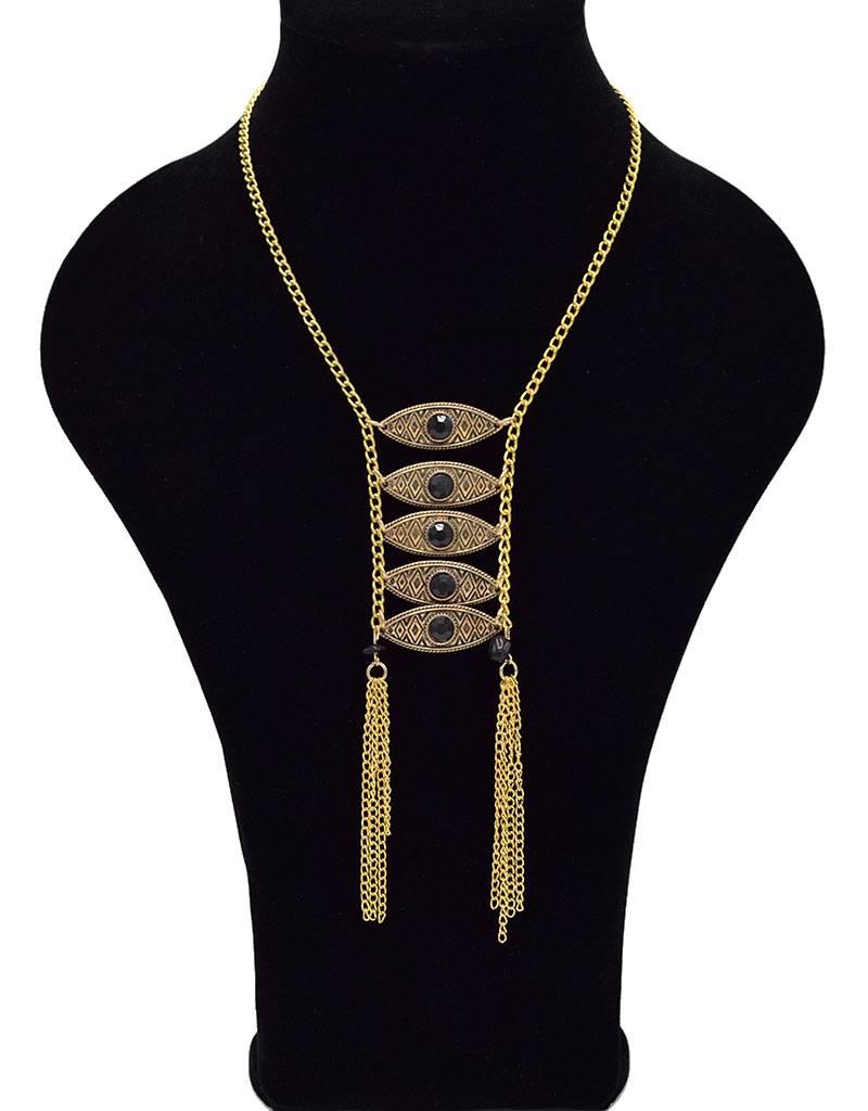 Elegante Antiek Vergulde Bohemian Halsketting