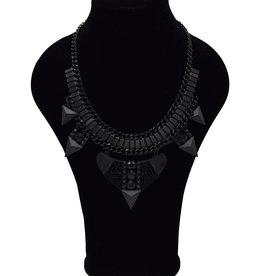 Stoere zwarte Bohemian halsketting