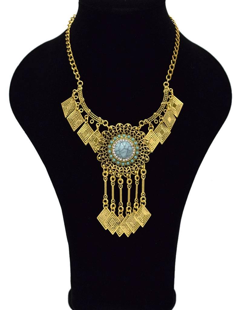 Sierlijke Antiek Vergulde Bohemian Halsketting