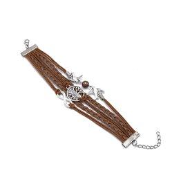 5-delige lichtbruine armband