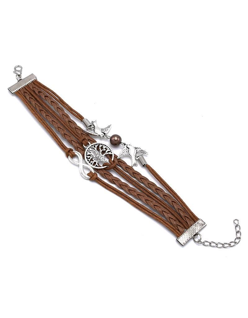 5-delige lichtbruine armband Levensboom