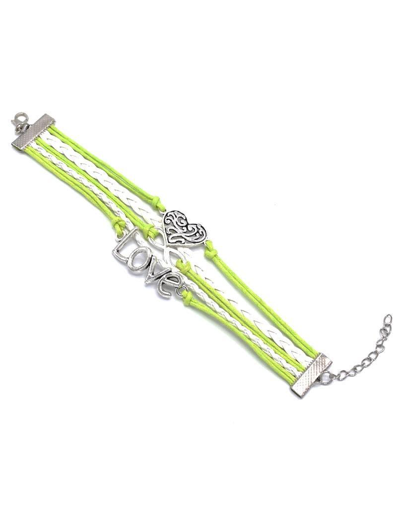 5-delige wit en lichtgroene armband Eeuwige liefde