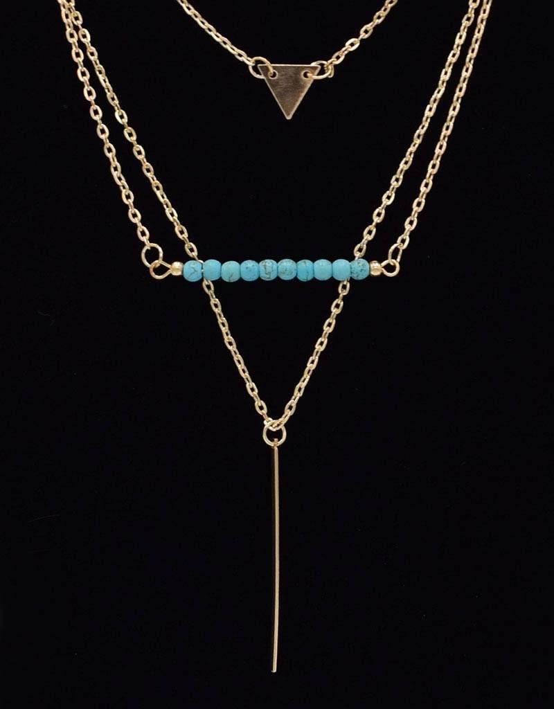 Vergulde Multilayer Vintage Halsketting Turquoise