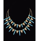 Vergulde Vintage Halsketting Turquoise