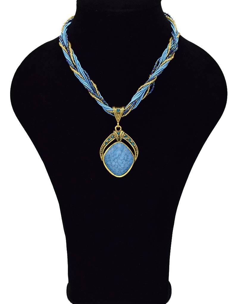 Vergulde Multilayer Vintage Halsketting blauw