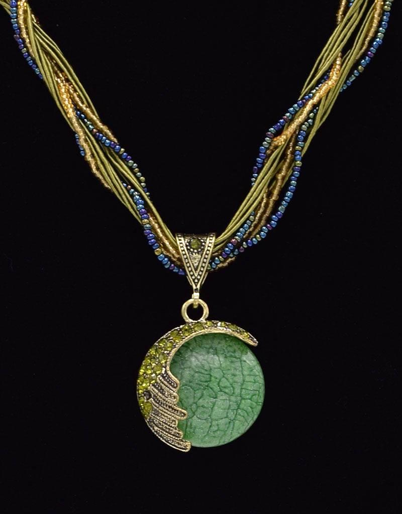 Vergulde Multilayer Vintage Halsketting Groen