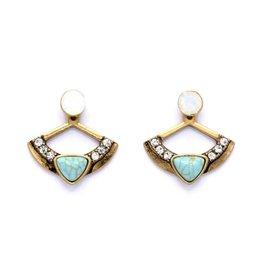 Turquoise Vintage oorbellen