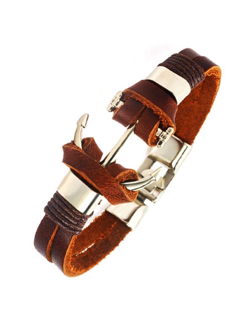 Bruine lederen armband Anker
