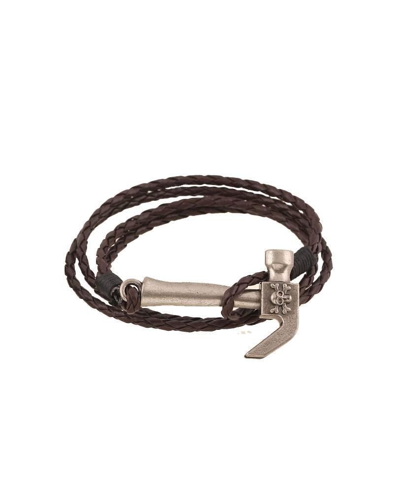 Dubbele bruine armband Hamer