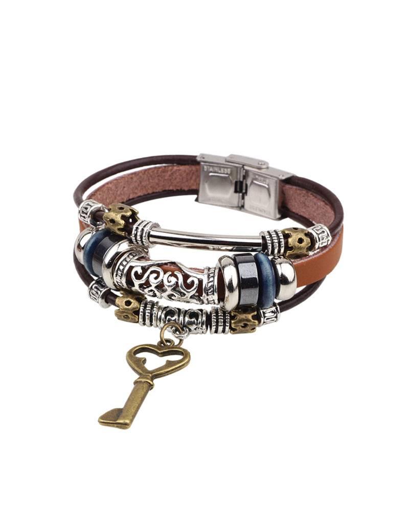 3-delige bruine armband Sleutel