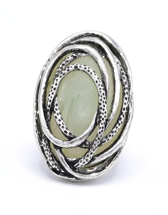 Antiek Verzilverde Vintage Ring Opaal