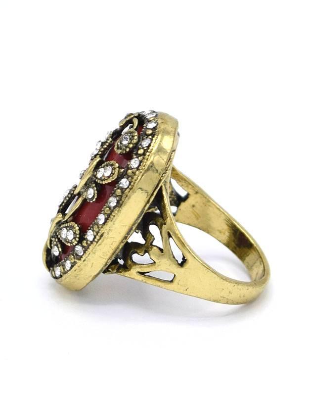 Antiek vergulde Vintage Ring Dragonfly