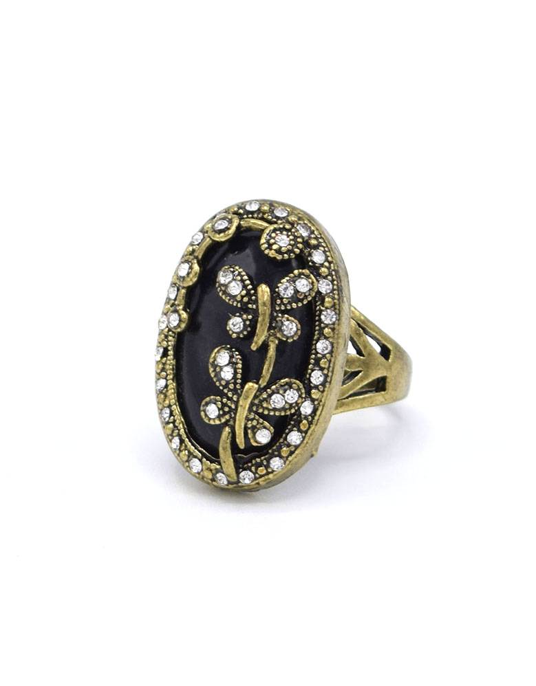 Antiek Vergulde Vintage Ring Dragonfly