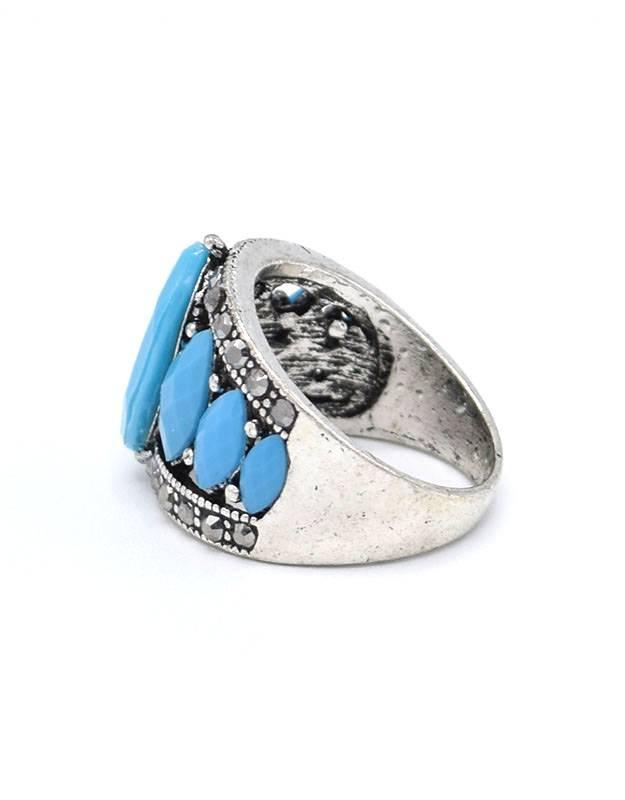Antiek Verzilverde Vintage Ring Lichtblauw