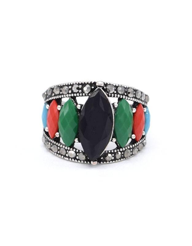 Antiek Verzilverde Vintage Ring Multicolor