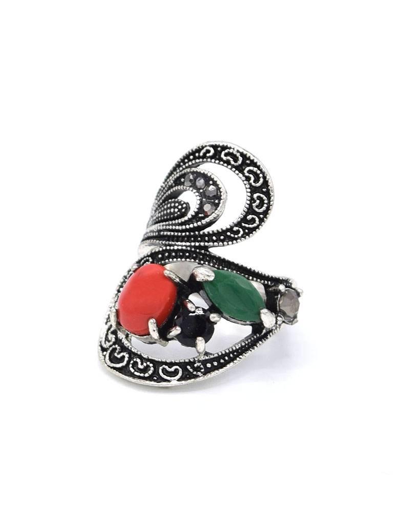 Antiek Verzilverde Statement Vintage Ring Multicolor