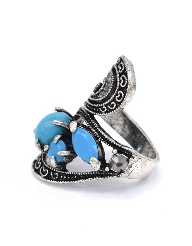 Antiek Verzilverde Statement Vintage Ring Lichtblauw