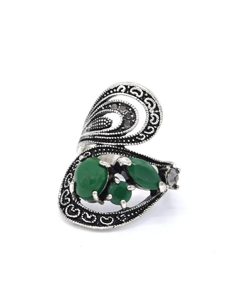 Antiek Verzilverde Statement Vintage Ring Groen