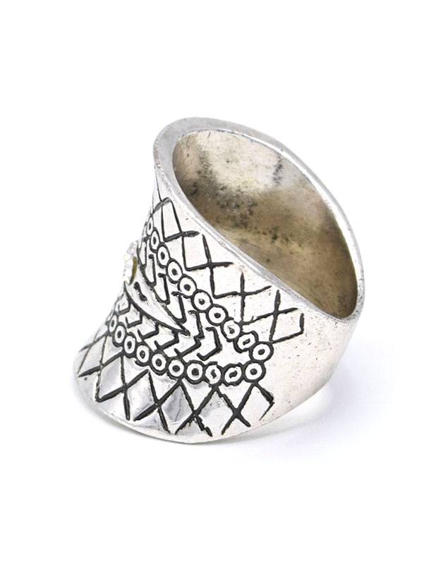 Antiek Verzilverde Bohemian Tibetaan Ring
