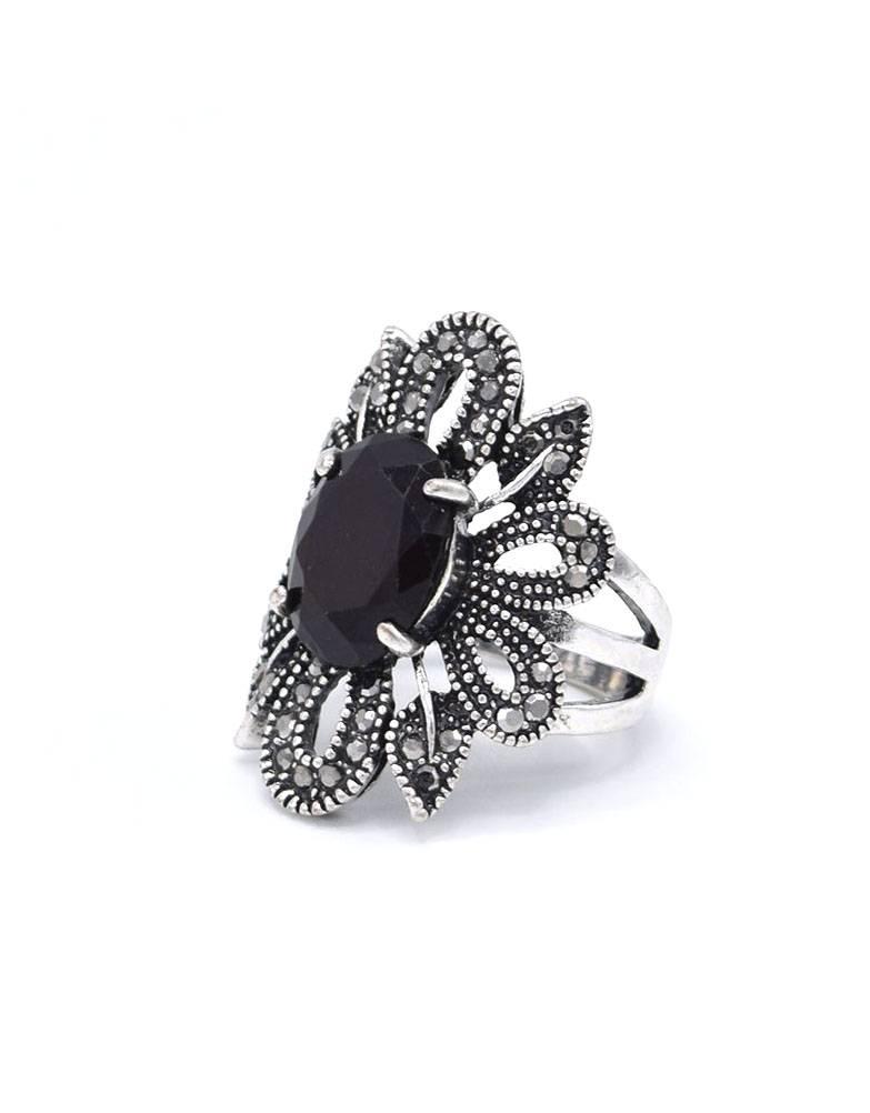 Antiek Verzilverde Bloemvorm Vintage Ring