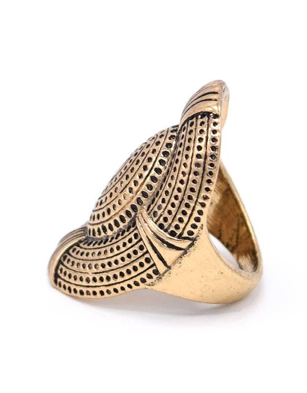 Antiek Vergulde Ovale Vintage Ring