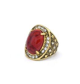 Koraalrode ovale Vintage ring
