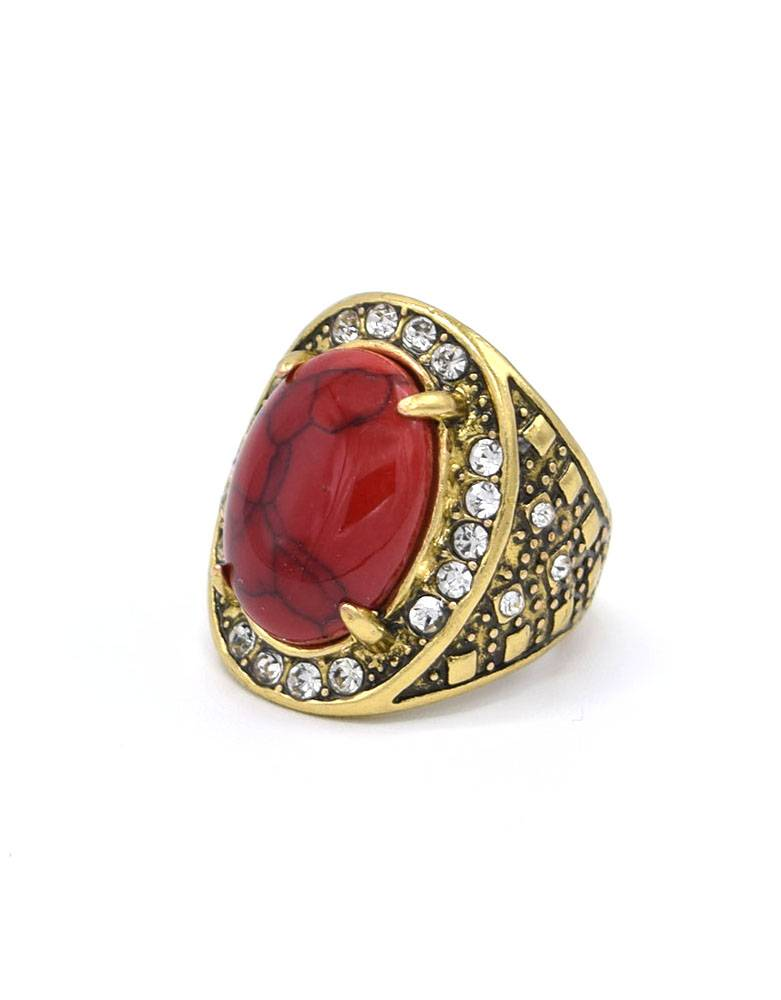 Antiek Vergulde Vintage Ring Koraalrood