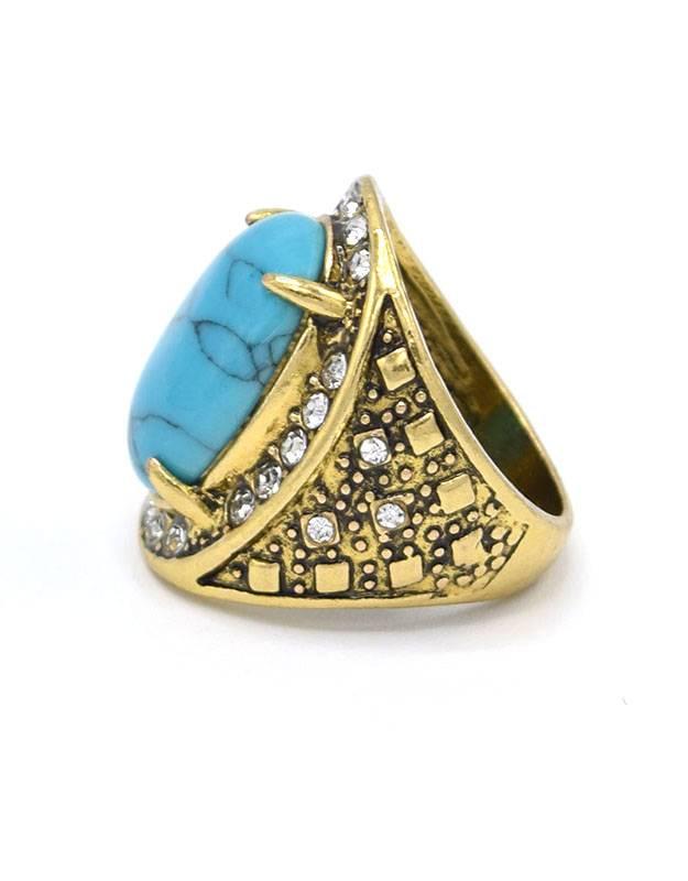 Antiek Vergulde Vintage Ring Turquoise