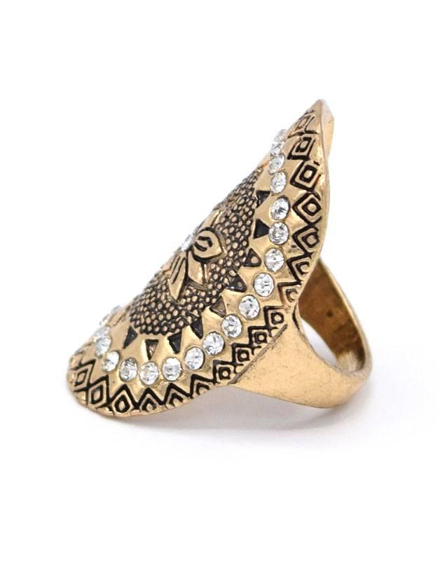 Antiek Vergulde Ovale Bohemian Ring