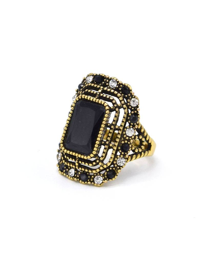 Antiek Vergulde Vintage Ring Zwart