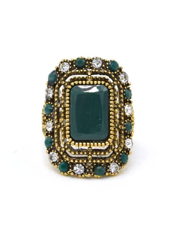 Antiek Vergulde Vintage Ring Groen