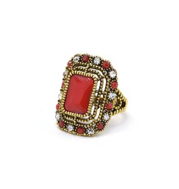 Koraalrode Vintage ring