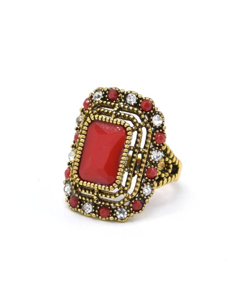 Antiek Vergulde Vintage Ring Koraalrood