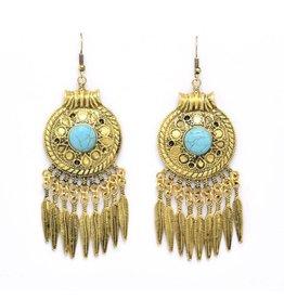 Turquoise Bohemian oorbellen