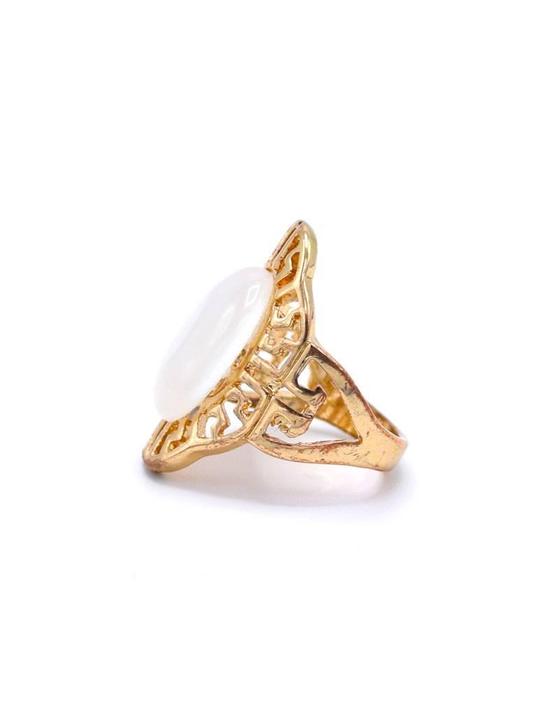 Vergulde Parelmoer Vintage Ring