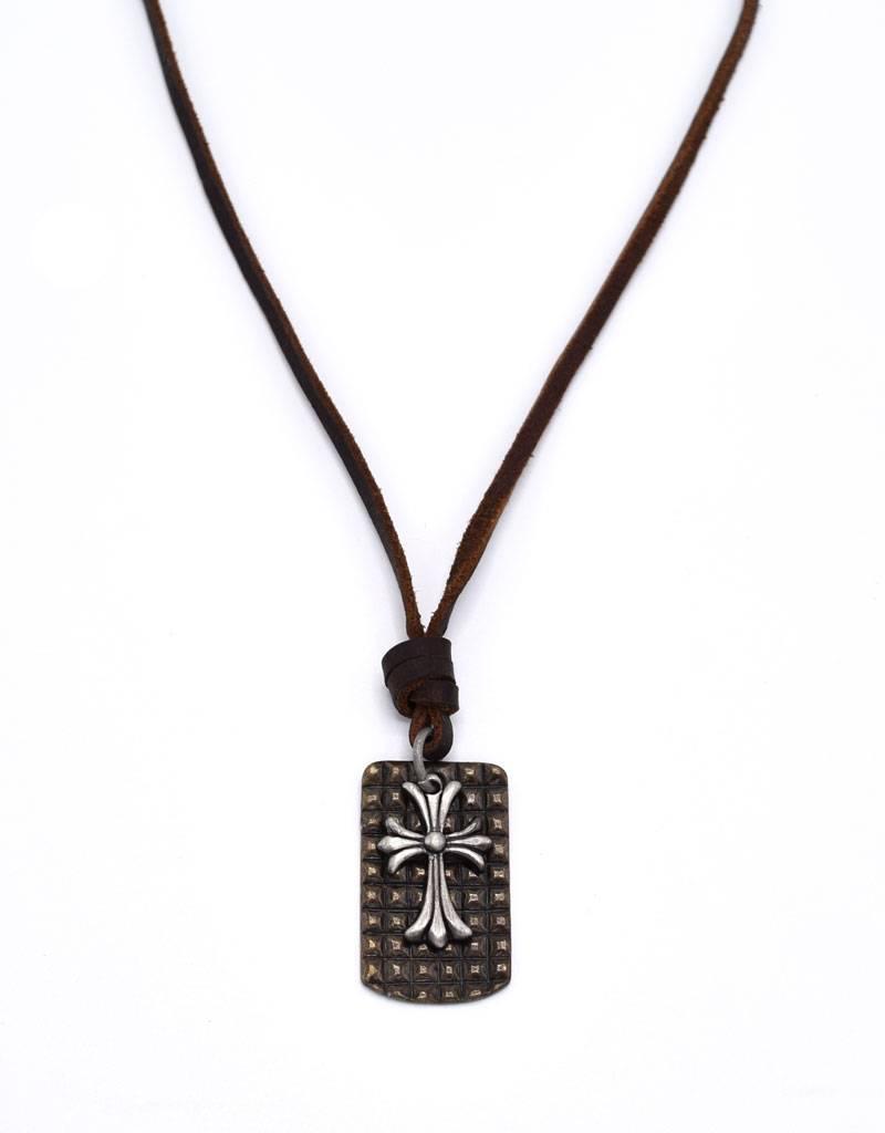 Leder halsketting met bronskleurig kruis
