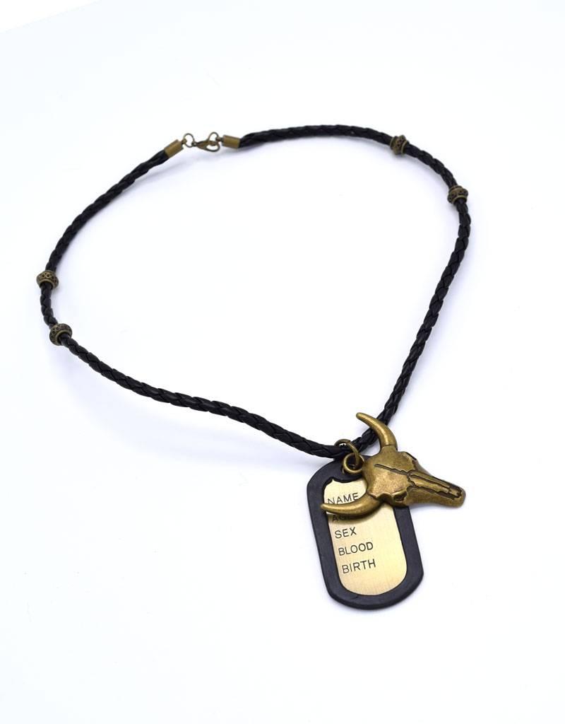 Leder halsketting met stierenkop