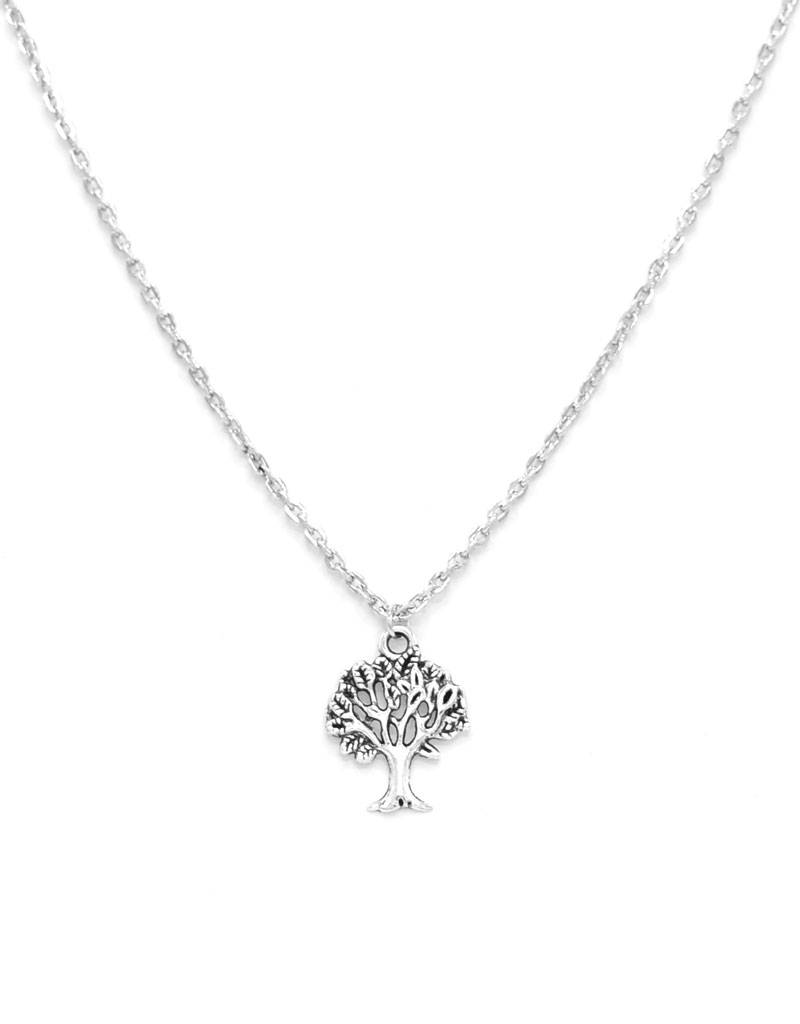 Verzilverde halsketting met Levensboom