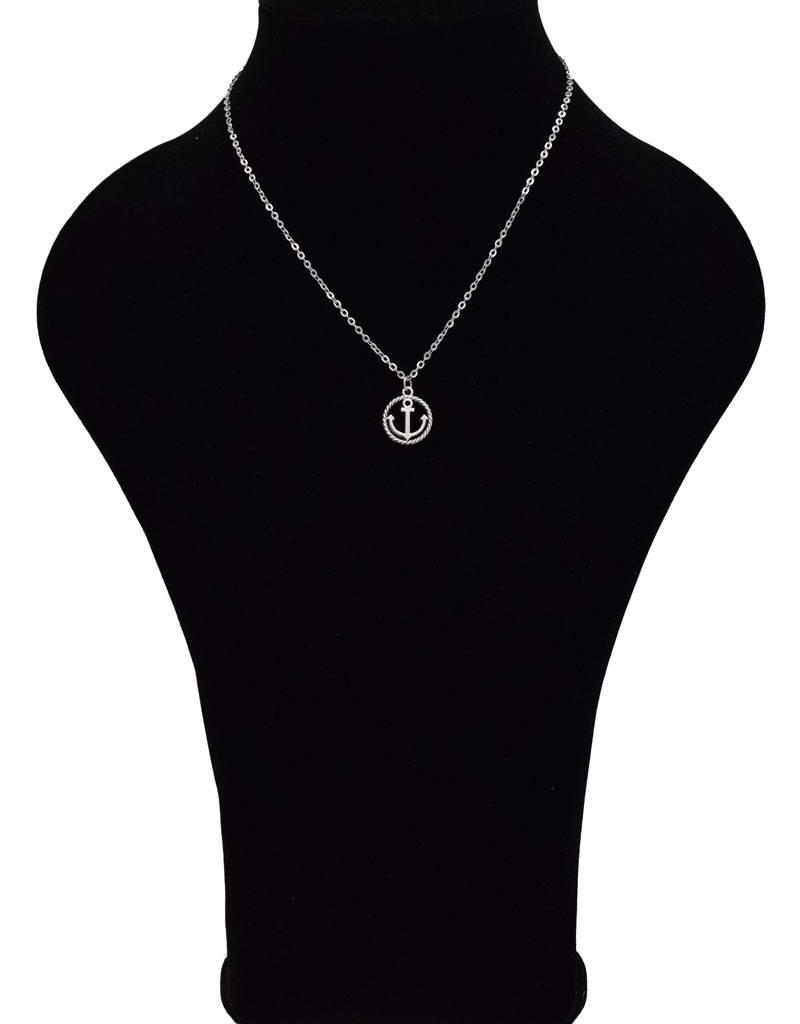 Verzilverde halsketting met anker